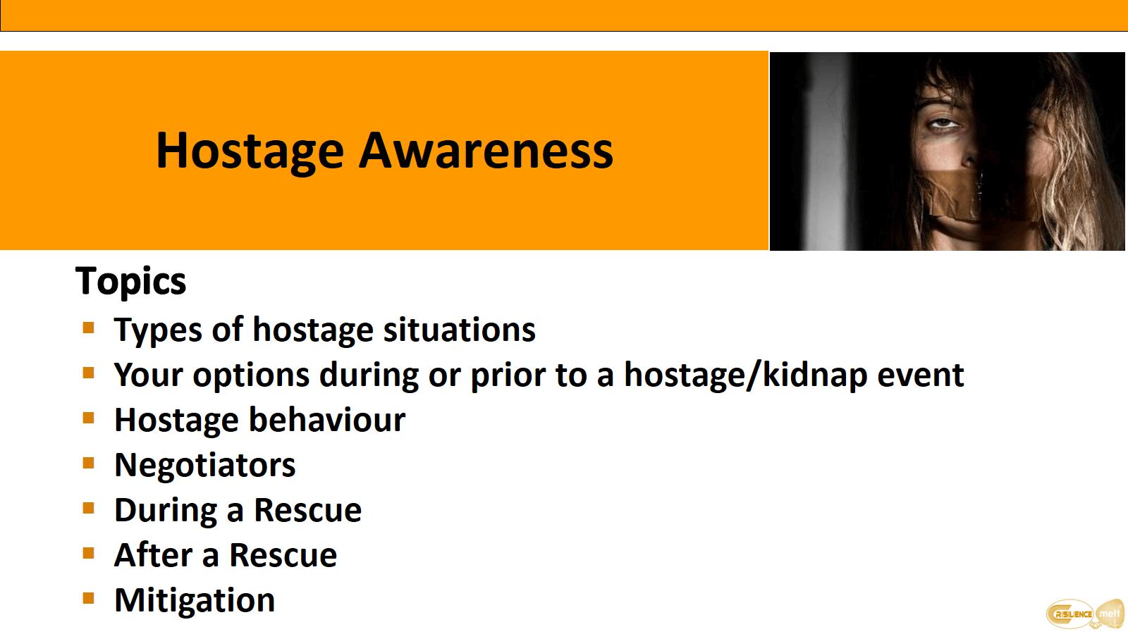 CIMAT slide 12 Hostage awareness Topics
