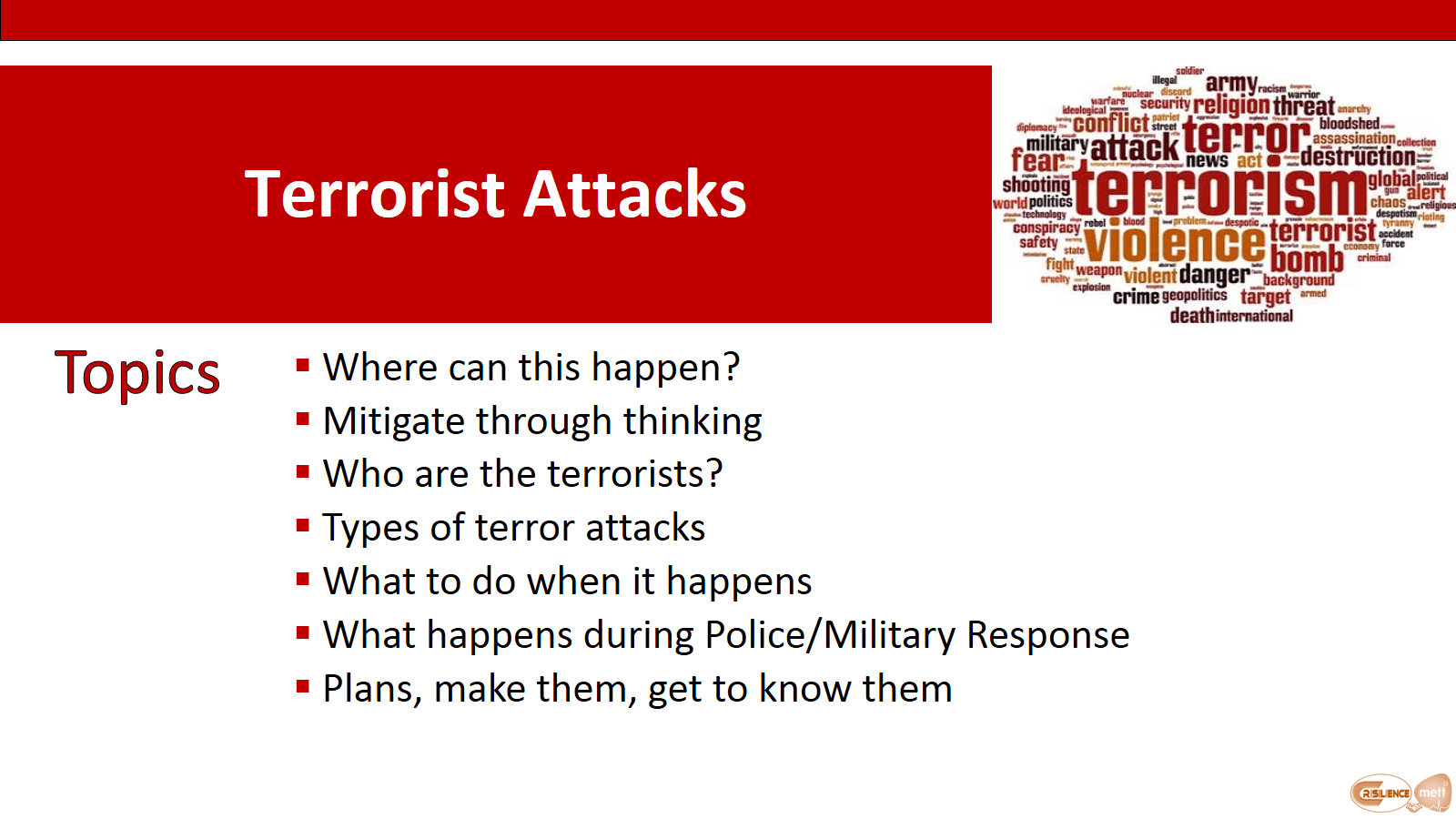 CIMAT Slide 6 Terror Attack Topics