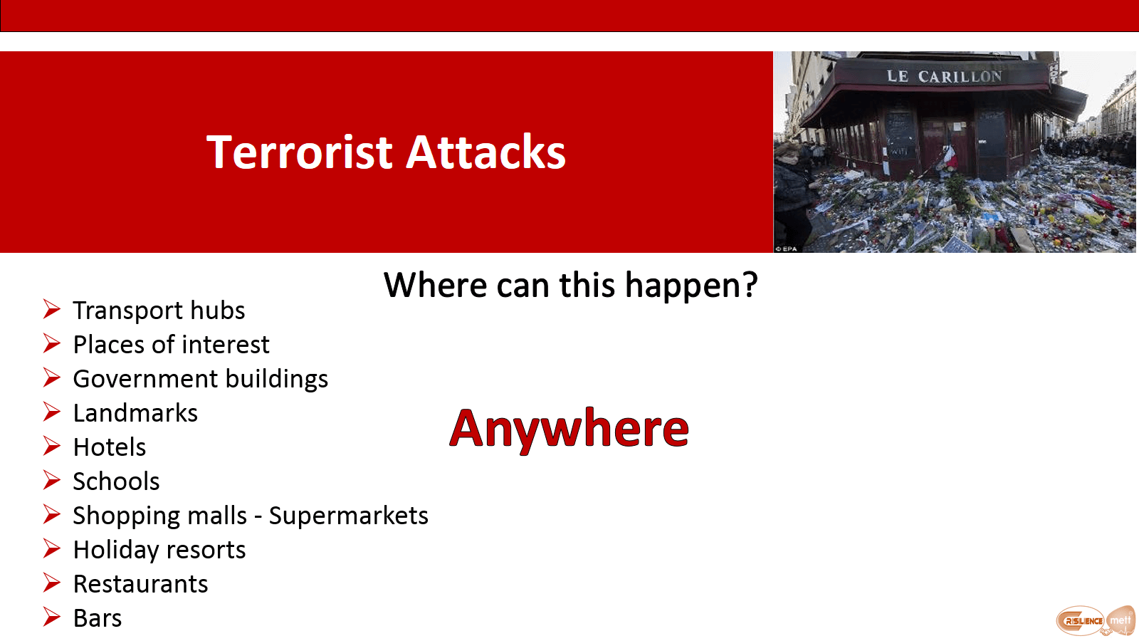 CIMAT slide 8 Terror attacks where can this happen?